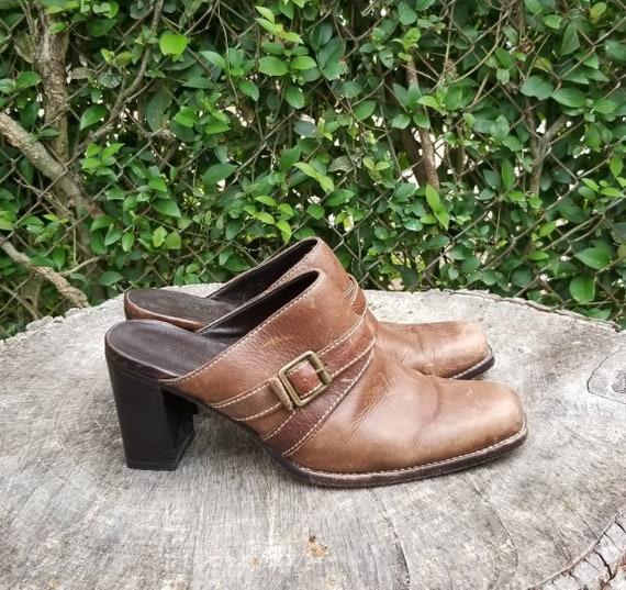 Sz 9.5 Vintage Mules/ Genuine Leather Slide Mules… - image 3