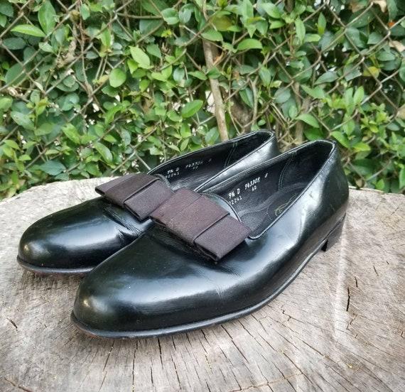 Sz 9.5 Vintage Tuxedo Shoes/ Patent Leather Shoes/