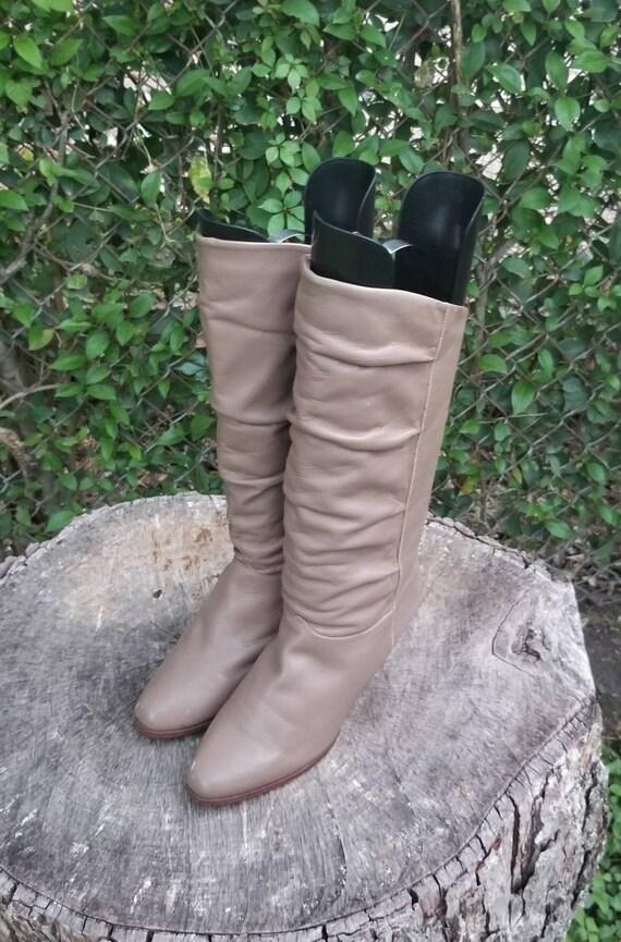 Sz. 8 Vintage Slouchy Mid-Calf Boots/Genuine Leath
