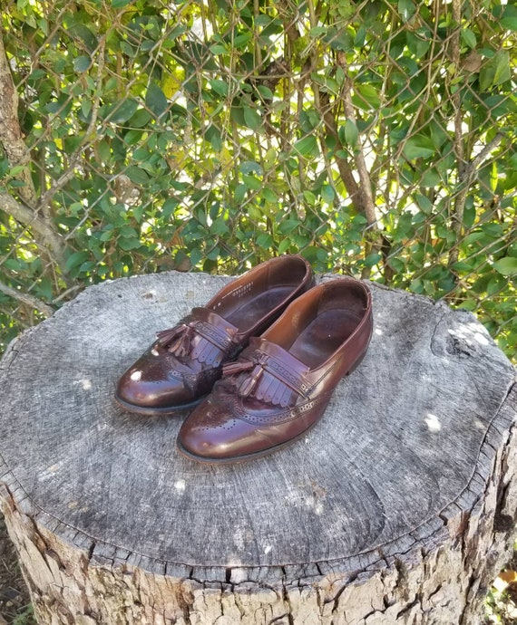 Sz 8 Vintage Loafers For Men/Genuine Leather Wingt