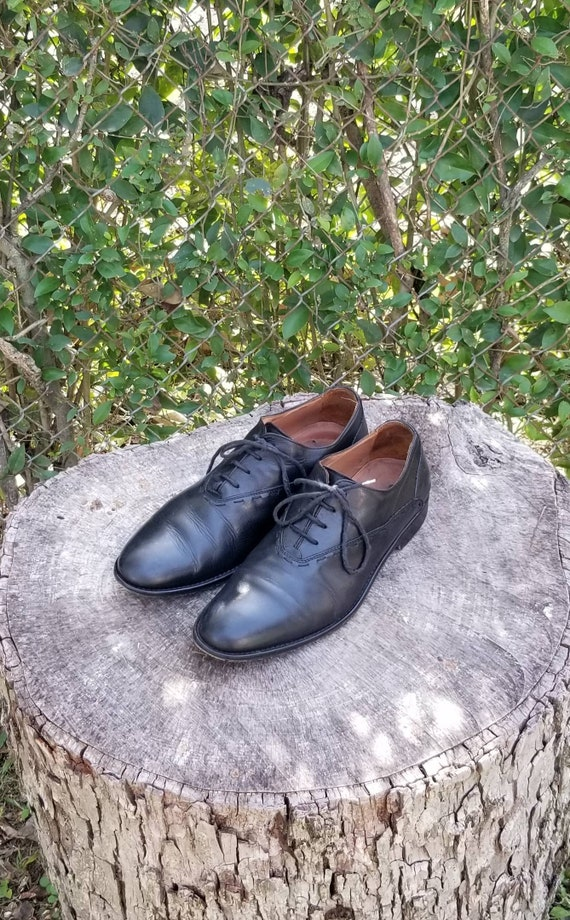 Sz 8 Men's Black Italian Leather Lace Up Shoes by