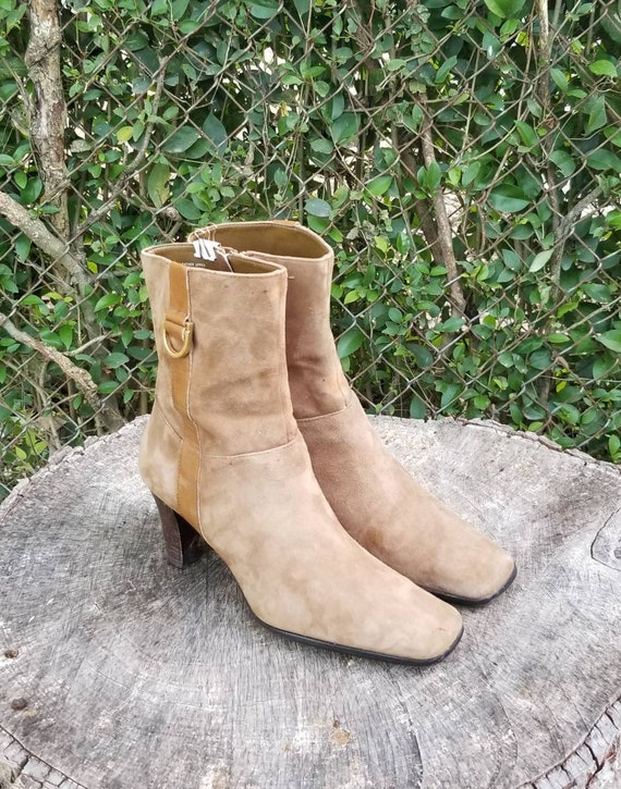 Sz 8 Vintage Ankle Boots/Genuine Suede Leather Zi… - image 9