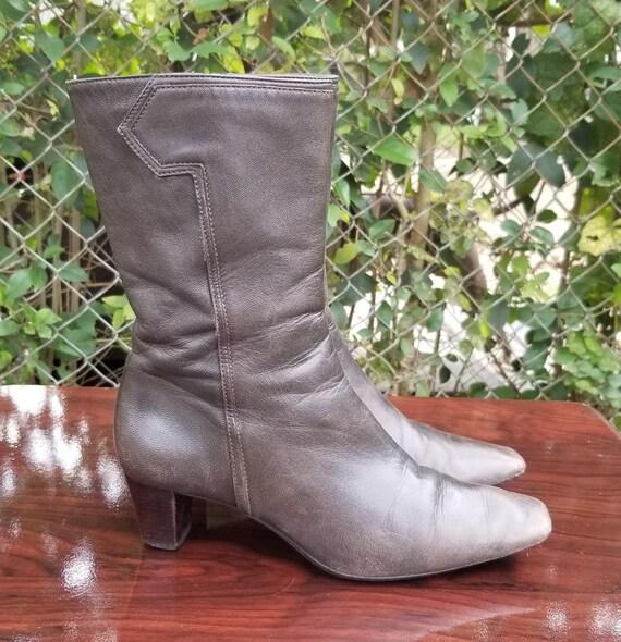 Sz. 6.5 Vintage  Ankle Boots/Genuine Leather Zipp… - image 3