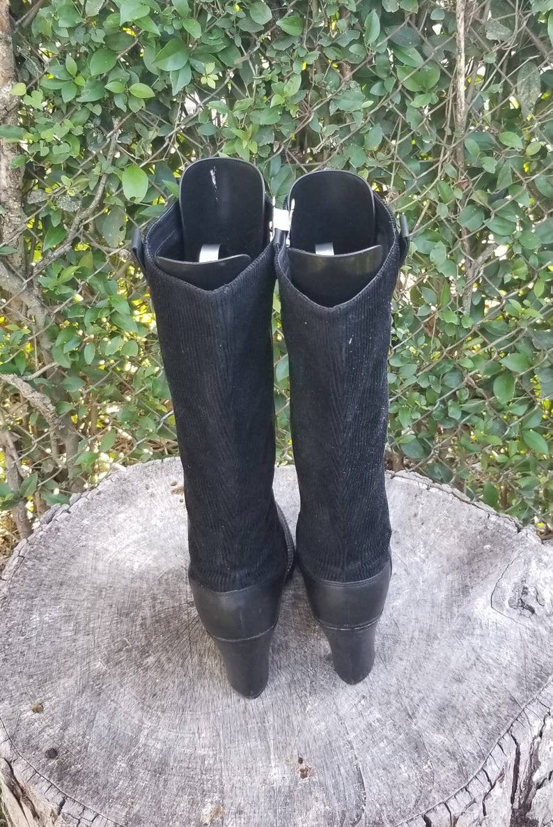 Sz 9.5 Leather And Corduroy Pull Up Boots Tall High Heel Boots 1990s Tommy Hilfiger