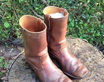 Vintage Cats Paw Boots Size 9D/Men Motorcycle Boots/Genuine Leather Distressed Boots