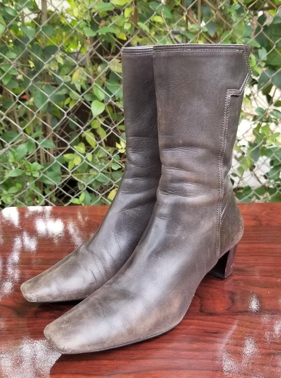 Sz. 6.5 Vintage  Ankle Boots/Genuine Leather Zippe