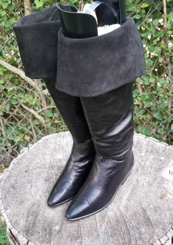 Sz 7 Vintage Genuine Leather Go-Go Boots/ 1980's S