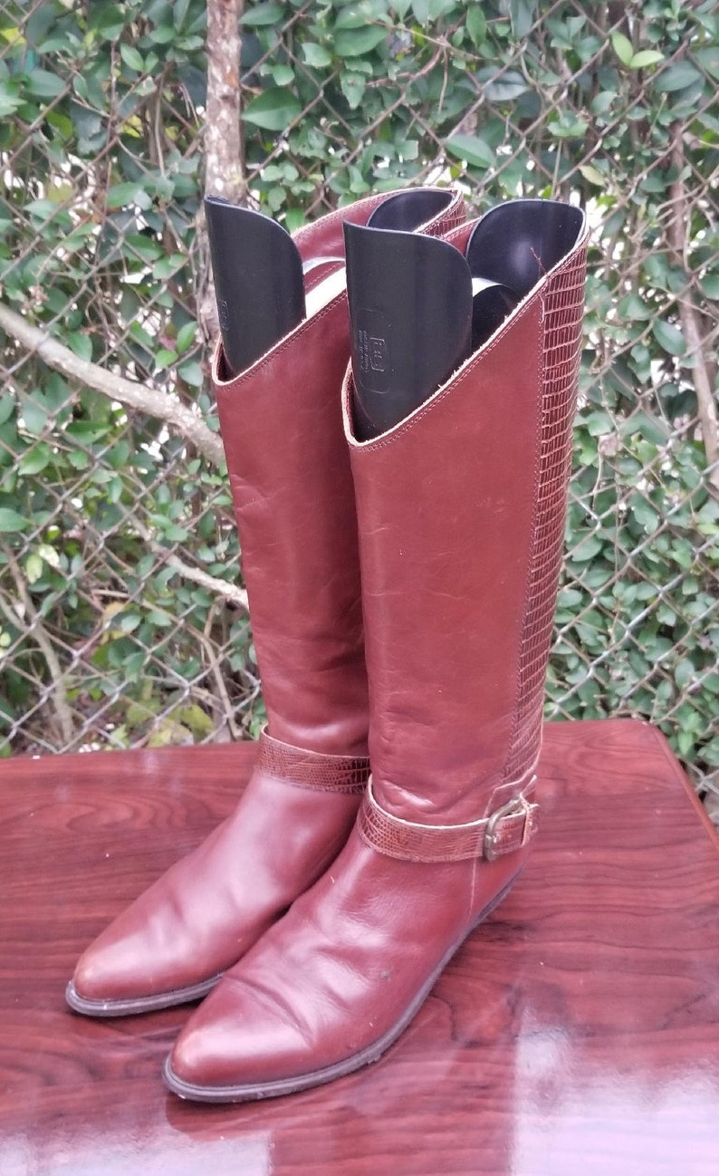 ffcffde8c35 S.z 8 Bandolino Italian Made Tall Leather Riding Boots/Lizard Print/Vintage