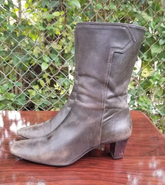 Sz. 6.5 Vintage  Ankle Boots/Genuine Leather Zipp… - image 4