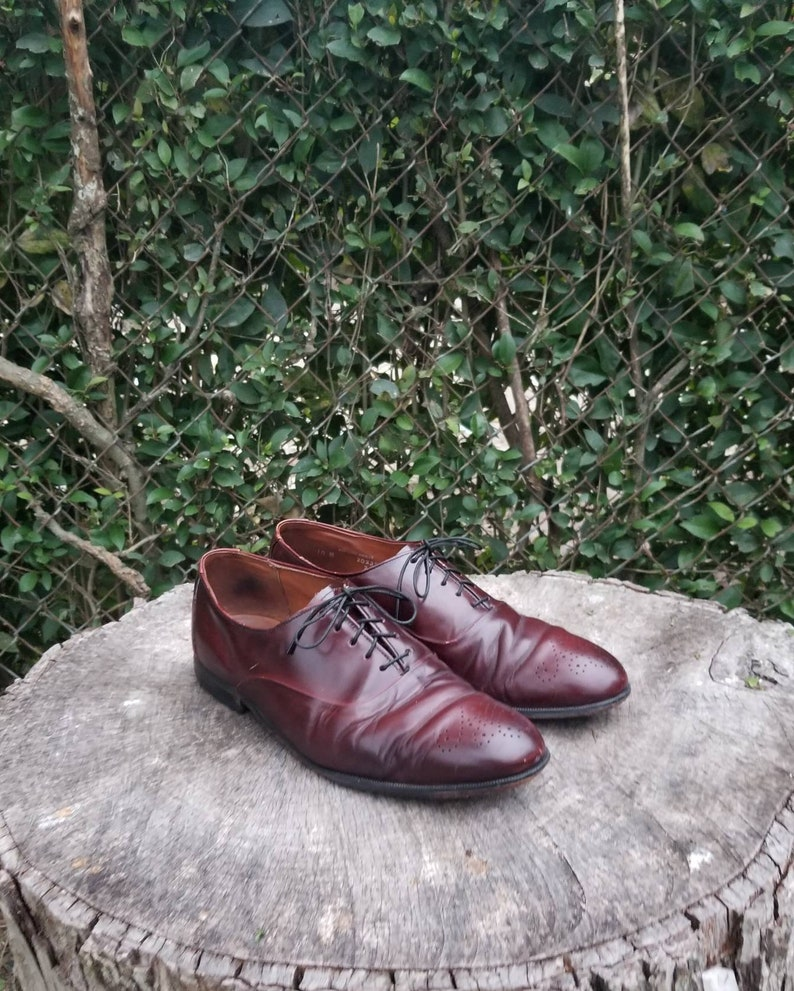 Sz 10 Vintage Oxford Shoes For Men Genuine Leather Lace Up Shoes 90s Mens Dress Shoes By Bostonian