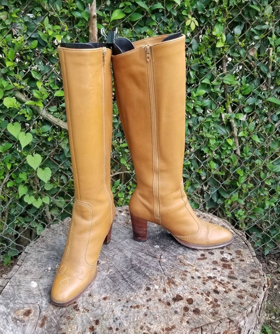 Foxy 70s Knee High Leather Heeled Boots By Golo Bo