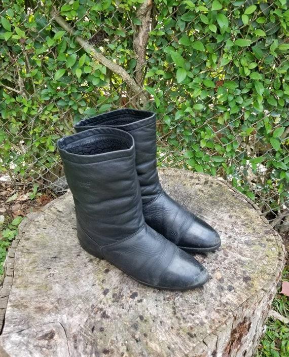 Black leather Biker Boots / Regence Black Leather