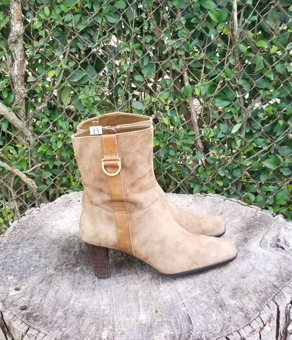Sz 8 Vintage Ankle Boots/Genuine Suede Leather Zi… - image 8