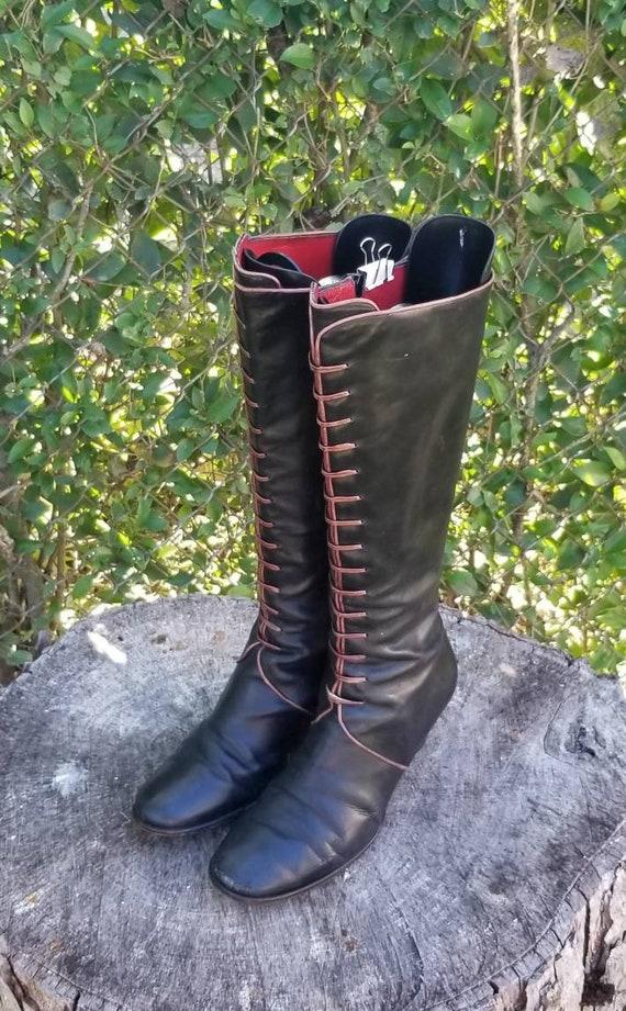 Sz. 7.5 Vintage Riding Boots/Genuine Leather Zippe