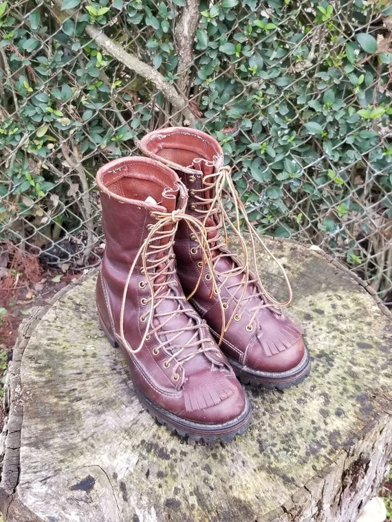 Vintage Combat Boots/ Brown Lace Up Leather Boots