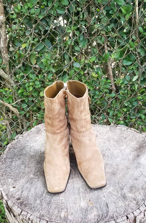 Sz 8 Vintage Ankle Boots/Genuine Suede Leather Zi… - image 2