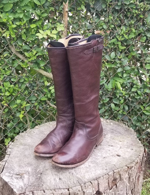 Sz 10 Vintage Frye Back Zip Tall Pull On Boots/Equ