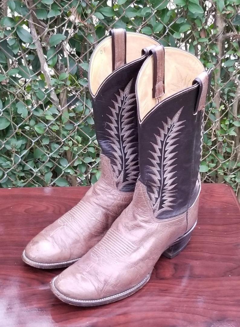 7eb67855c30 Sz. 12 D Tony Lama Cowboy Boots/Genuine Leather Upper/Pull  Ups/1980's/Western Boots