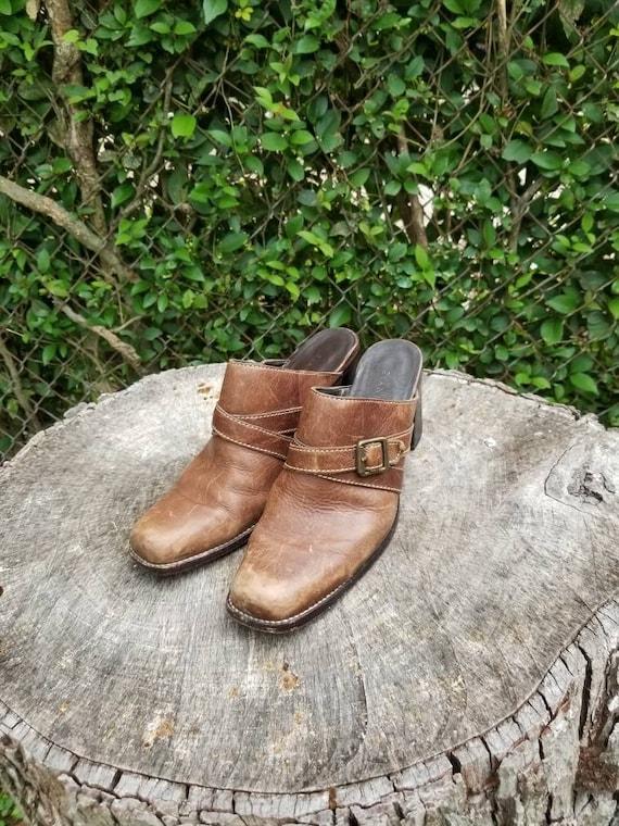 Sz 9.5 Vintage Mules/ Genuine Leather Slide Mules… - image 1