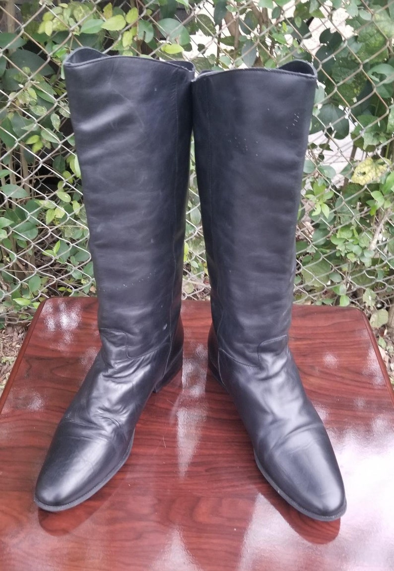 2ec5fdb0bf225 S.z. 11 Tall Black Leather Riding Boots By Naturalizer/Vintage 90's