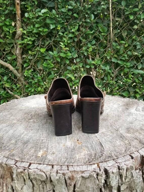 Sz 9.5 Vintage Mules/ Genuine Leather Slide Mules… - image 8