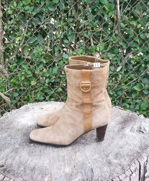 Sz 8 Vintage Ankle Boots/Genuine Suede Leather Zi… - image 4