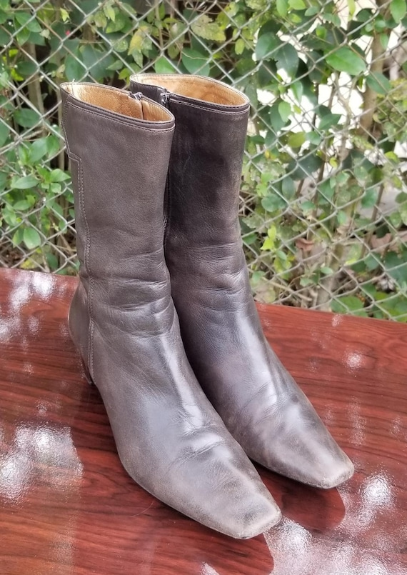 Sz. 6.5 Vintage  Ankle Boots/Genuine Leather Zipp… - image 6