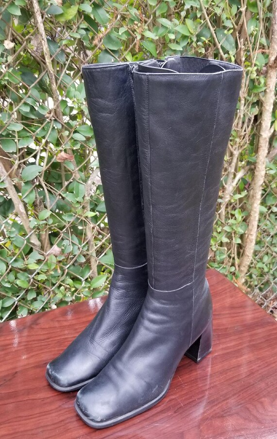 e94bcfc8e19 Sz. 6 M Tall Black Leather Riding Boots/ By Nine West/Vintage Zipper  Boots/1980's