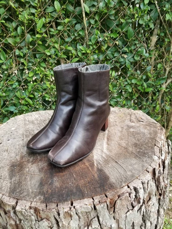 Sz. 7 Vintag Ankle Boots/Genuine Leather Zipper Bo