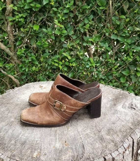Sz 9.5 Vintage Mules/ Genuine Leather Slide Mules… - image 5