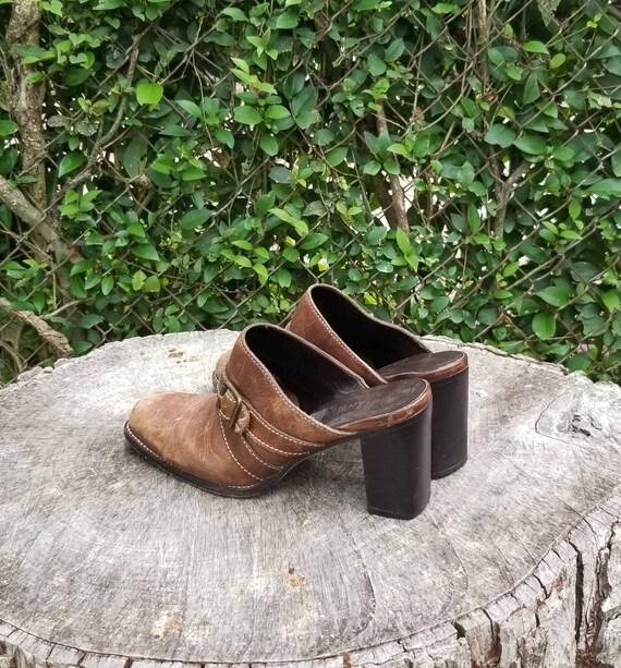 Sz 9.5 Vintage Mules/ Genuine Leather Slide Mules… - image 4