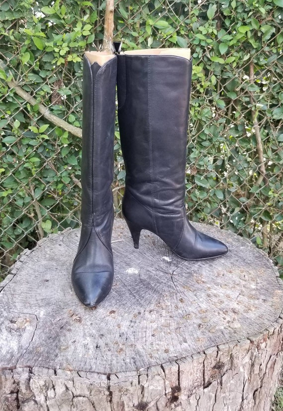 Sz 6.5 Vtg 80s Black Stiletto Boots/Genuine Leathe