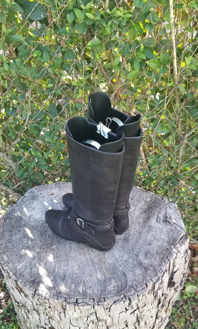 Sz 7 Vintage Mid-Calf Boots Black Leather Short Riding Boots1980s Flat Pull On Boots.