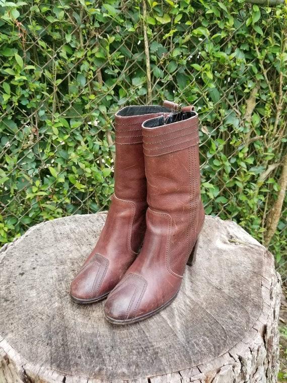 Sz 9 Vintage Ankle Boots/ Genuine Leather Zipper B
