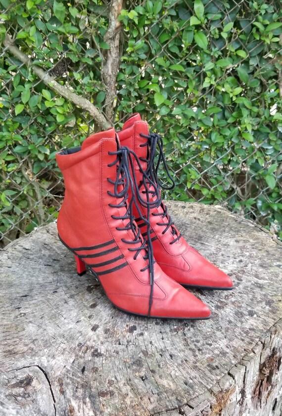 Nine West YUKI Heel Booties/ Red Genuine Leather/