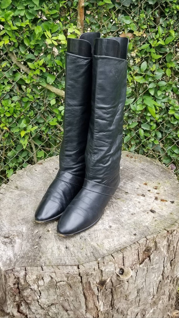 Sz 7.5 Black Mid-Calf Slouchy Boots By Joyce of Ca
