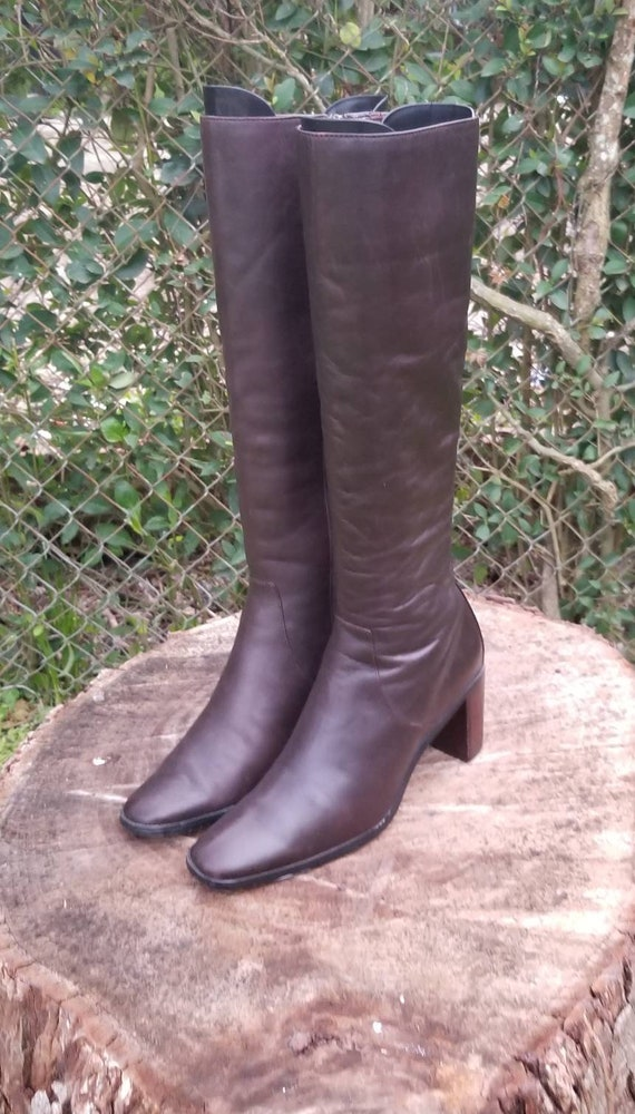 Sz. 6.5 Vintage Tall Riding Boots/ Genuine Leather