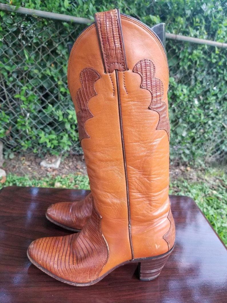 f02e8939611 Sz. 6 Justin Wear to Work Cowboy, Western Boots. Vintage Tall. Redwood  Snakeskin Alligator/Woodstock/Festival