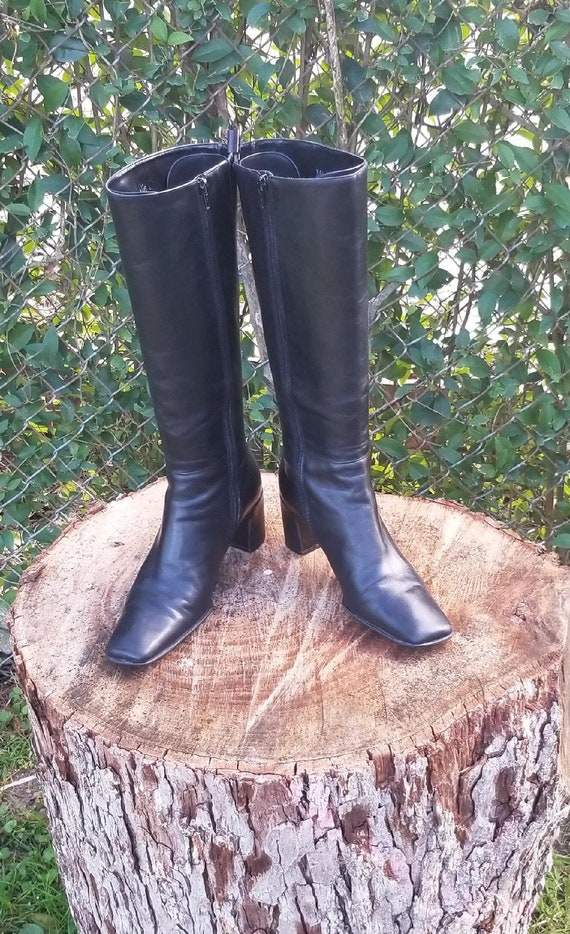Sz 8.5 Vintage Riding Boots/ Genuine Leather Zippe