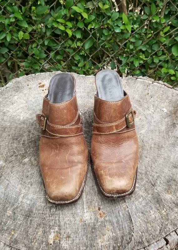 Sz 9.5 Vintage Mules/ Genuine Leather Slide Mules… - image 6