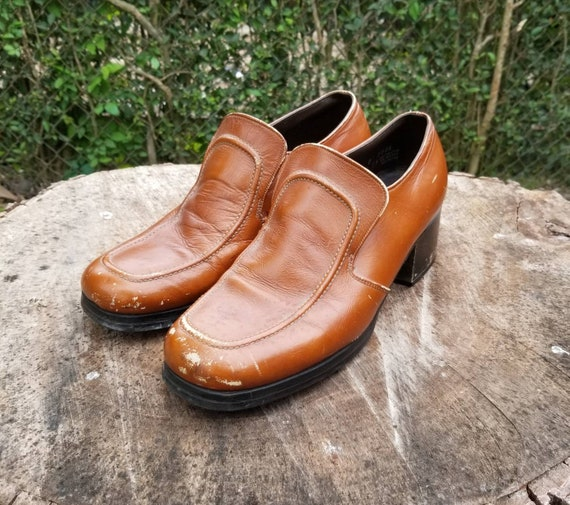 Sz 8 Vintage Mens Dress Shoes 60's 70's Style LoaferOxford Shoes Brown LeatherDisco ShoesWoodstock