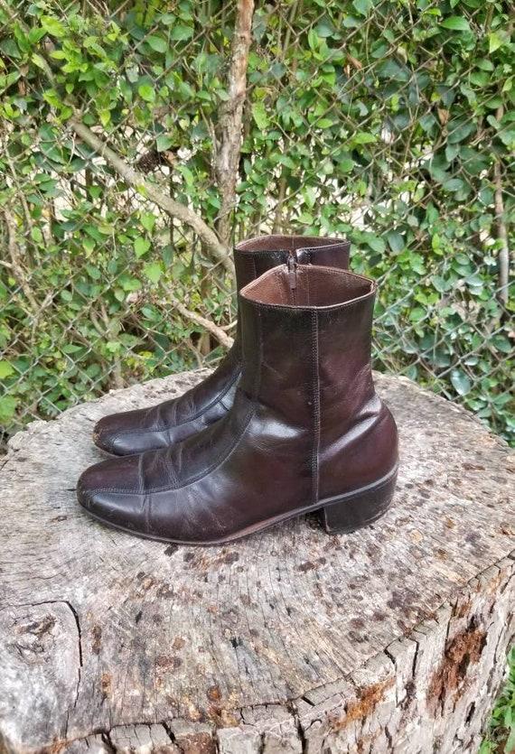 Men 70s 80s FLORSHEIM BEATLE Ankle Boot Leather 9