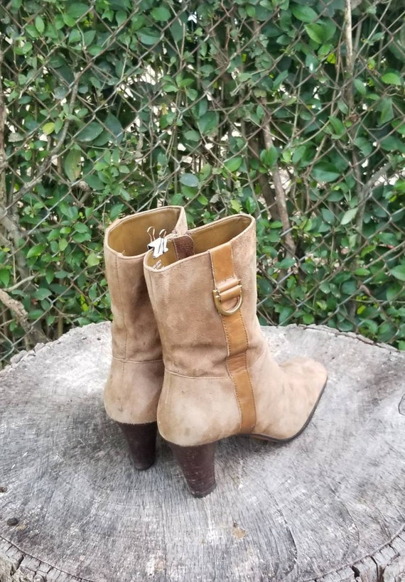 Sz 8 Vintage Ankle Boots/Genuine Suede Leather Zi… - image 7
