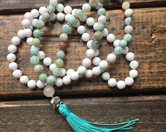Fulfillment Mala : White Jade, Amazonite, Rose Quartz