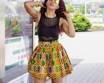d50f2247197 Kente Print High Waist Chic Ankara African Mini Skirt