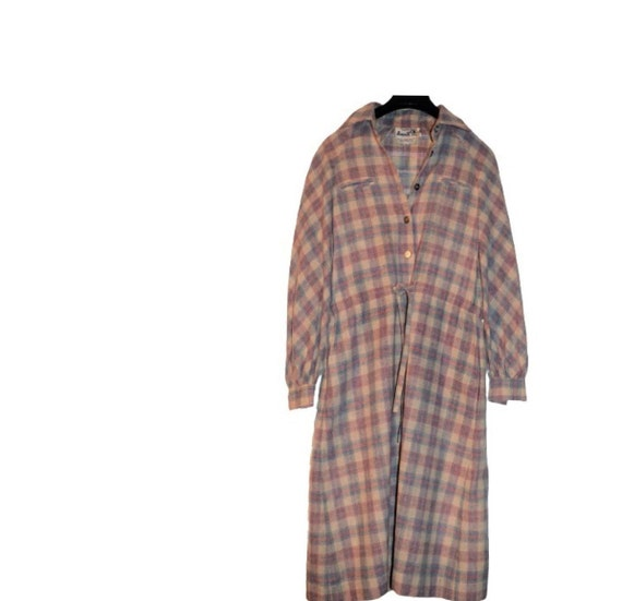 Vintage 70s 80s Roncelli Wool Blend Flannel Maxi … - image 2
