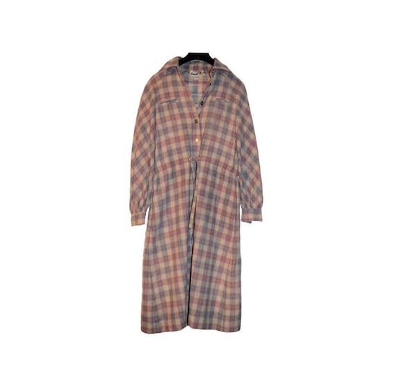 Vintage 70s 80s Roncelli Wool Blend Flannel Maxi … - image 1
