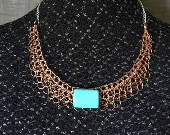 Crocheted on copper wire necklace