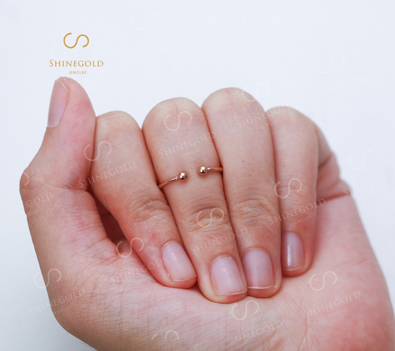 Bead wedding band Rose gold ring Dainty filled ring Open ring Adjustable ring Wire ring Smooth stacking ring set Christmas gift Stackable