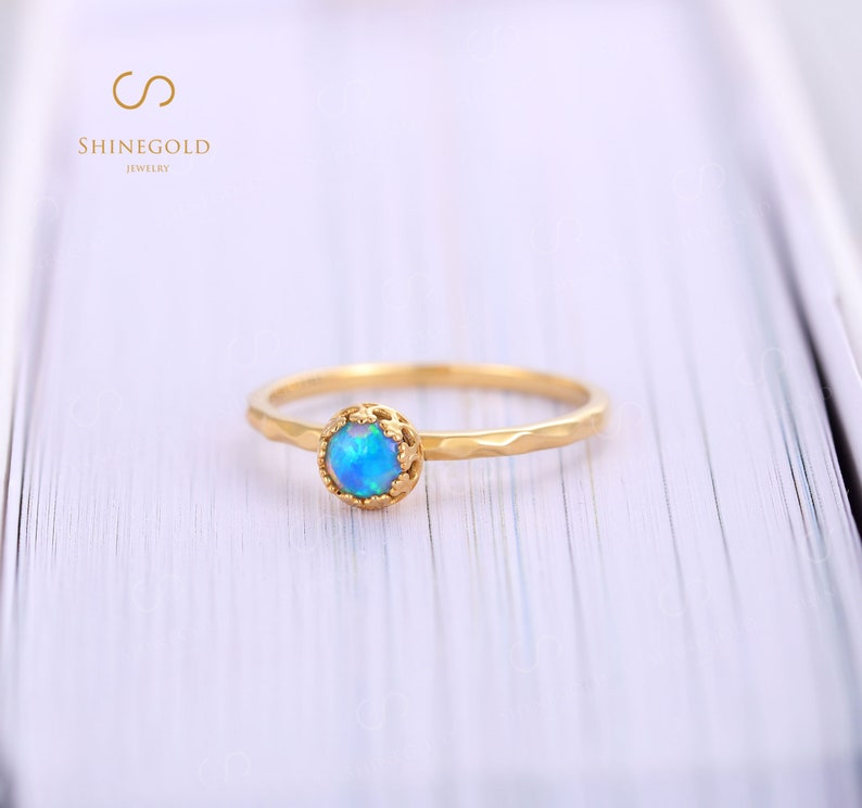 Vintage Opal engagement ring round cut women daint wedding ring yellow gold Bezel set jewelry promise anniversary  for her